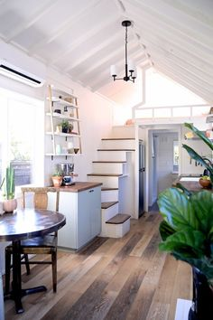 """""""Cadence"""" Tiny House on Wheels by Handcrafted Movement Tiny House Movement // Tiny Living // Tiny House Living Room // Tiny Home Dining Room // Tiny House Wood Stove, Tiny House Loft, Best Tiny House, Modern Tiny House, Tiny House Living, Tiny House Plans, Tiny House On Wheels, Tiny House Design, Tiny Loft"""