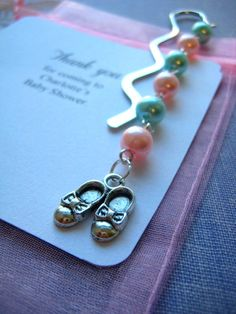 Baby Shower, favor, bookmark set of TEN. Baby Shower Favors, Organza Bags, Party Gifts, Pearl Earrings, Ideas Para, Unique Jewelry, Bookmarks, Handmade Gifts, Shower Ideas