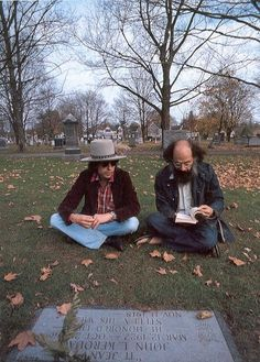 Bob Dylan and Allen Ginsberg at Kerouac's grave, Lowell, MA, 1975