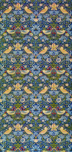Printed Fabric: Strawberry Thief by William Morris. Original from The Birmingham Museum. Digitally enhanced by rawpixel. | free image by rawpixel.com William Morris Patterns, Birmingham Museum, Classical Art, Heart Art, Free Illustrations, Paper Background, Fractals, Printing On Fabric, Cool Photos