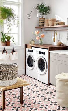 Functional And Stylish Laundry Room Design Ideas To Inspire - Modern Basement Laundry, Farmhouse Laundry Room, Small Laundry Rooms, Laundry Room Organization, Laundry Room Design, Laundry Closet, Laundry Decor, Laundry Baskets, Laundry Area