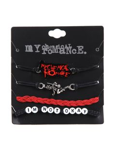 My Chemical Romance Cord Bracelet Set, <<< I WANT IT! *pouts like a lil child* Style Indie, Grunge Style, Soft Grunge, Dope Style, Tomboy Style, Grunge Outfits, Cute Emo Outfits, Cute Emo Clothes, Scene Outfits