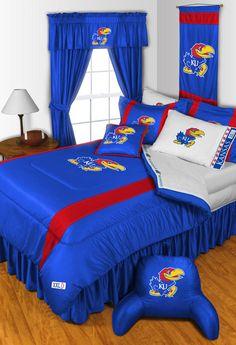 Kansas Jayhawks NCAA Sidelines Room Comforter and Sheet Set Size Queen #SportsCoverage
