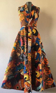 Reversible African Wax Print Coat Dress in Pumpkin Spice Patchwork and Your Choice of Reverse Print African Print Dresses, African Fashion Dresses, African Dress, African Outfits, African Fashion Designers, African Print Fashion, African Attire, African Wear, Afro