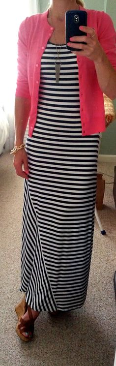 Calvin Klein navy striped maxi dress, pink J. Crew cardigan, Guess wedge sandals, AE necklace