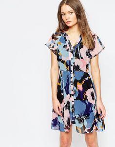 Yumi tea Dress in Pansy print
