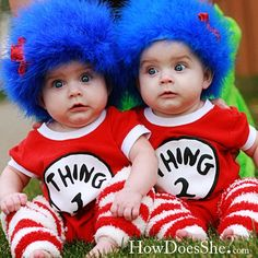 halloween costume inspiration Dr. Suess thing 1 and thing 2 twin halloween costumes