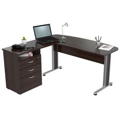 Inval Curved Top L-Shape Computer Desk