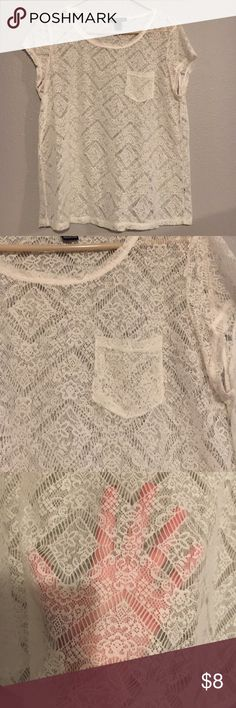 White lace blouse In great condition! I wore it with a beige tank top under and it was adorable! Forever 21 Tops Tees - Short Sleeve
