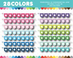 Star banner clipart in 28 colors, Star Banner, Bunting Banner, Buntings, Stickers, Website Template, Flag, Clip Art, Templates, Digital