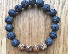 Lava stone bracelet | Etsy