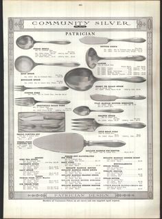 1915 AD 18 Page Community Silver Flatware Ware Patrician Baby Sets Fish Knife Breakfast Presentation, Fish Knife, Oysters, Utensils, Flatware, Victorian, Community, Dishes, Drink