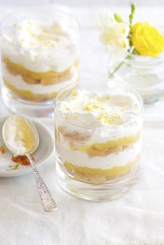 Lemon Trifle from @Katie Hrubec Schmeltzer | Epicurean Mom Blog  Ingredients:  15-20 ladyfinger biscuits (french)  3/4 cup dessert wine, such as cream sherry (for non-alcoholic use lemonade)  2 cups heavy cream  2 tablespoons confectioners' sugar  11/2 cup lemon curd (homemade or store bought), plus more for garnish if needed   2 tablespoons lemon rind, grated for garnish