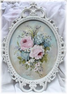 Original Painting - Cottage Blooms - Postage is included in the price Australia wide Shabby Chic Beach, Shabby Chic Decor, Flower Frame, Flower Art, Selling Paintings, Modern Vintage Fashion, Antique Frames, Painting Gallery, Vintage Roses