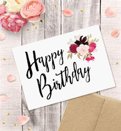 Printable Birthday Card for Her Happy Birthday Watercolor Etsy happy birthday card - Birthdays Happy Birthday For Her, Birthday Cards For Her, Happy Birthday Funny, Happy Birthday Messages, Happy Birthday Images, Birthday Greetings, Birthday Gifts, Happy Birthday Grandma, Card Birthday