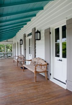 Spice up your curb appeal with colorful shutters to give the exterior of your home more character and a fresh look. House Design, Blue Ceilings, House Styles, Colourful Shutters, Curb Appeal, Home, Custom Homes, Teal Shutters, House Exterior