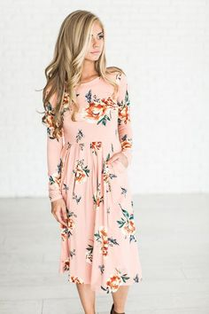 Floral Blooms Dress - Blush (ships 2/28)