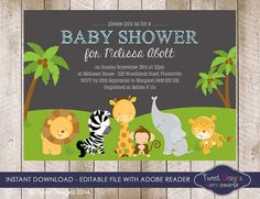 JUNGLE ANIMAL Baby Shower  Invitation by TweetPartyPrintables