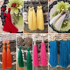 Earrings, tassels, silk thread, handmade, red, yellow, white, orange, green, pink, blue, gold, silver