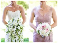 Bridal bouquet inspiration. White and green palette, with hops for texture. Bridesmaid bouquet inspiration. White, pink and green palette with soft textures | Tyler Arboretum Wedding by Ashley Gerrity Photography