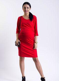 Červené těhotenské šaty na kojení s kulatým výstřihem a tříčtvrtečním rukávem One Shoulder, Shoulder Dress, Dresses For Work, Fashion, Moda, Fashion Styles, Fashion Illustrations