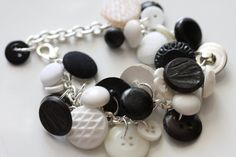 White, Brown and Multicolored Upcycled Vintage Button Jingle Charm Bracelets by CinnamonandSilver