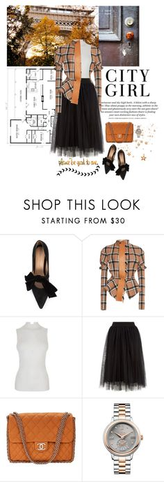 """""""City Girl"""" by frechelibelle ❤ liked on Polyvore featuring Ulla Johnson, H&M, Loewe, Fendi, Chanel, Vivienne Westwood, plaid, tulleskirt and fall2017"""