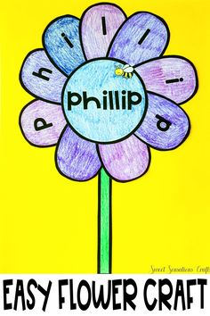 Easy personalized flower craft - perfect for spring and bulletin boards! In the time it takes to enter names into a form field create 20 individual flowers! Teaching Activities, Teaching Resources, Teaching Ideas, Kindergarten Literacy, Preschool, Thing 1, Common Core Reading, Letter Recognition, New Names