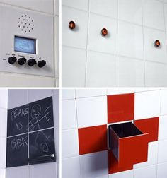 3 D Function Tiles by Droog: Transform a small bathroom space into a multifunctional space.