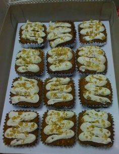Carrot Cake Squares with Creamcheese Frosting and Walnut Toppings