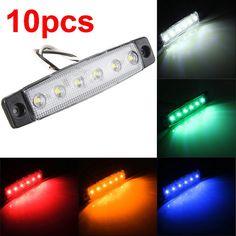 10pcs 6LED Red White Green Blue Yellow Amber 6 LED Clearence Truck Bus Trailer Side Marker Indicators Light Lamp 12V 24V