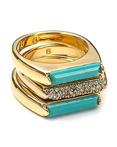 MICHAEL Michael Kors Turquoise and Pave Bar Stackable Rings | Bloomingdale's