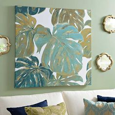 Tropical Art, Tropical Leaves, Tropical Paintings, Canvas Art Prints, Canvas Wall Art, Painted Leaves, Wall Art For Sale, Home Art, Watercolor Art