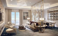 Formal Reception and Dining Room, Villa la Vague - Morpheus London