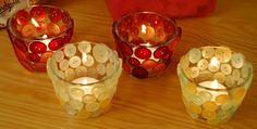 decorar espelmatòria de vidre amb botons