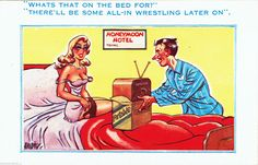 Vintage 1960s Risqué Comic Postcard Antique WIRELESS Radio Honeymoon wrestling…