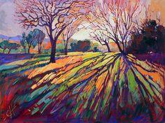 Oil Landscapes Transformed into Mosaics of Color by Erin Hanson. Erin Hanson transforms landscapes into abstract mosaics of color using an impasto paint Erin Hanson, Abstract Landscape, Landscape Paintings, Abstract Art, Landscapes, Abstract Trees, Contemporary Landscape, Oil Painting Abstract, Landscape Design