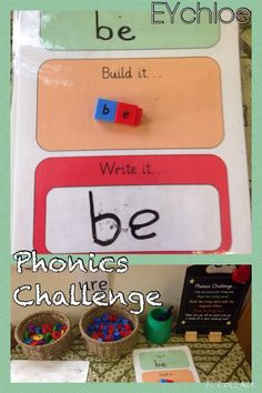 Phonics challenge - focus on tricky words. Say it, build it or write it. Green = easy; Amber = medium; Red = difficult.