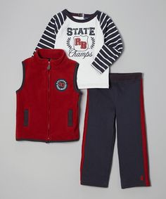 Take a look at this Red & Blue 'State Champs' Vest Set - Infant, Toddler & Boys by Rugged Bear on #zulily today!