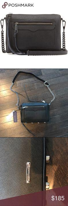 Rebecca Minkoff Avery Crossbody Bag Black saffiano leather with silver hardware. New. Rebecca Minkoff Bags Crossbody Bags
