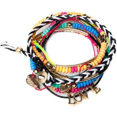 Pull & Bear Pack Of 10 Different Bracelets ($16) ❤ liked on Polyvore