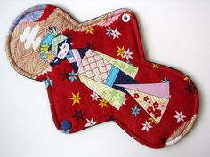 """Mama Cloth Pad Menstrual- 10"""" Classic Contour Length, COTTON, Heavy Absorbency, WINDPRO Anesama Dolls Red"""