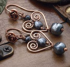 Romantic Copper Roses and Hearts with Hematite by wiredelements
