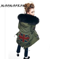 MAOMAOKONG Winter parka beaded Fur Jackets Slim Thick Plus Size Real Raccoon Fur Hooded Coats Fox Fur Lining Outwear Top Quality