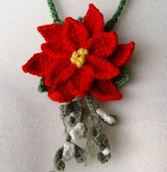awesome 10 Outrageous Ideas For Your Knitted Poinsettia Flower Crochet Tree, Crochet Ornaments, Bead Crochet, Crochet Hooks, Crochet Necklace, Handmade Christmas, Christmas Crafts, Dark Christmas, Poinsettia Flower