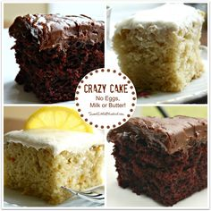 A very sweet and moist cake good for dairy-free or egg-free eaters; no eggs, milk or butter required.