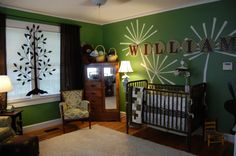 Bold color nursery - mix of dark/white furniture