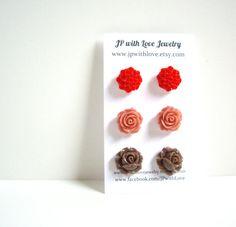 Brown Stud earrings Flower Stud earrings cinnamon by JPwithLove, $18.00