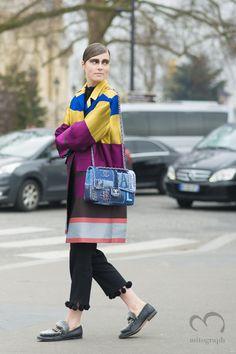 Model Caroline Brasch Nielsen leaves Chanel 2015-2016 Fall WInter show during Paris Fashion Week PFW