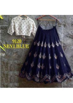 Bollywood Replica - Party Wear Navy Blue & White Crop Top Lehenga - 9120-E